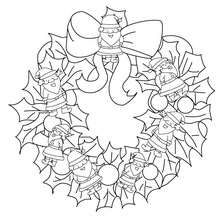 Dibujo corona de navidad con snata claus para colorear - Dibujos para Colorear y Pintar - Dibujos para colorear FIESTAS - Dibujos para colorear de NAVIDAD - ADORNOS NAVIDEÑOS para colorear
