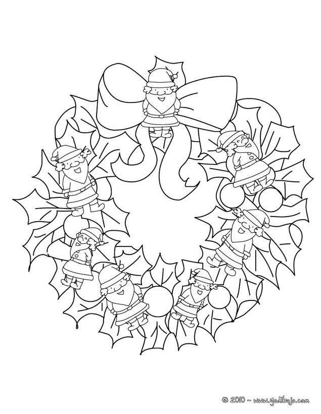 Dibujo para colorear : corona de navidad con snata claus