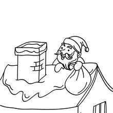 Dibujo de Papa Noel llegando en el teecho de una casa en la noche de navidad - Dibujos para Colorear y Pintar - Dibujos para colorear FIESTAS - Dibujos para colorear de NAVIDAD - Dibujos para colorear de PAPA NOEL - Dibujos para colorear PAPA NOEL online