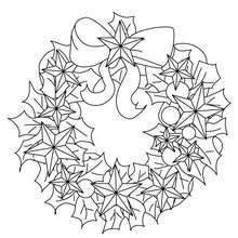 Dibujo para colorear : corona navideña con flores