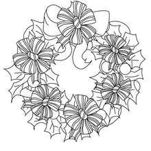 Corona de navidad con flores de seda - Dibujos para Colorear y Pintar - Dibujos para colorear FIESTAS - Dibujos para colorear de NAVIDAD - ADORNOS NAVIDEÑOS para colorear