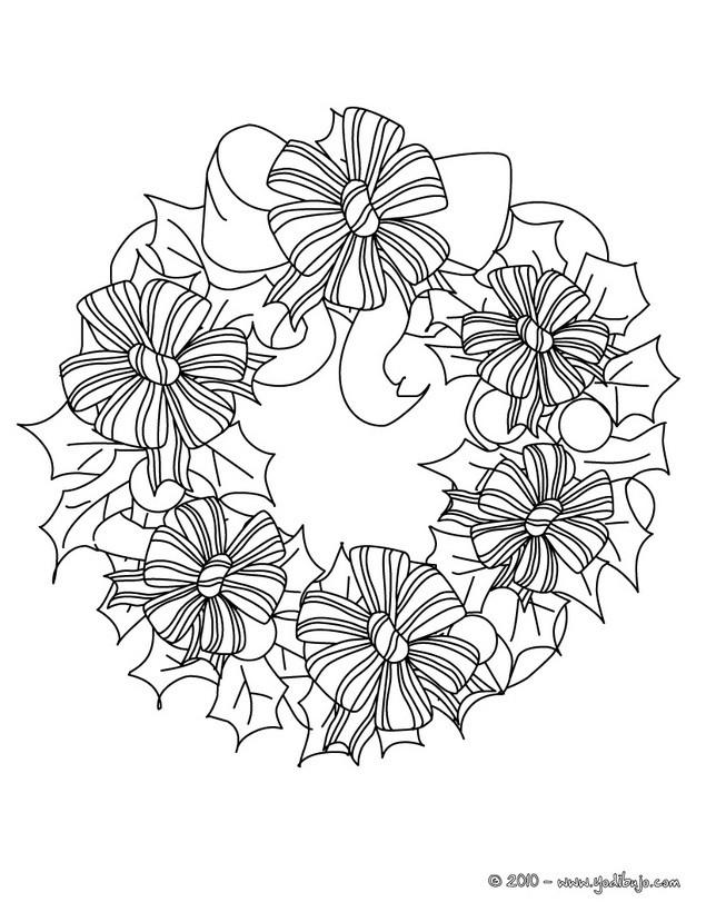 Dibujo para colorear : Corona de navidad con flores de seda