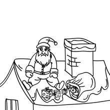 Dibujo para colorear de Papa Noel con regalos cayendo del techo - Dibujos para Colorear y Pintar - Dibujos para colorear FIESTAS - Dibujos para colorear de NAVIDAD - Dibujos para colorear de PAPA NOEL - Dibujos para colorear PAPA NOEL online