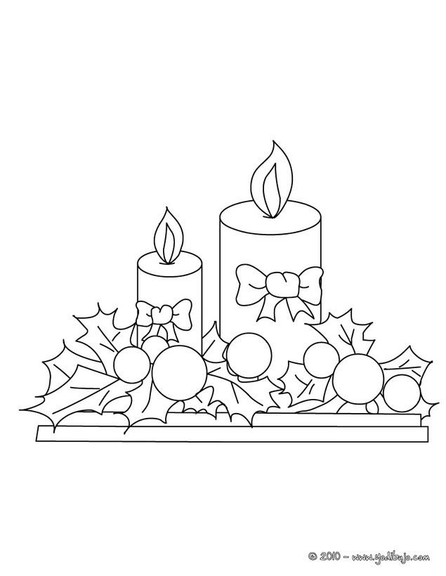 Dibujo para colorear : Velas navideñas