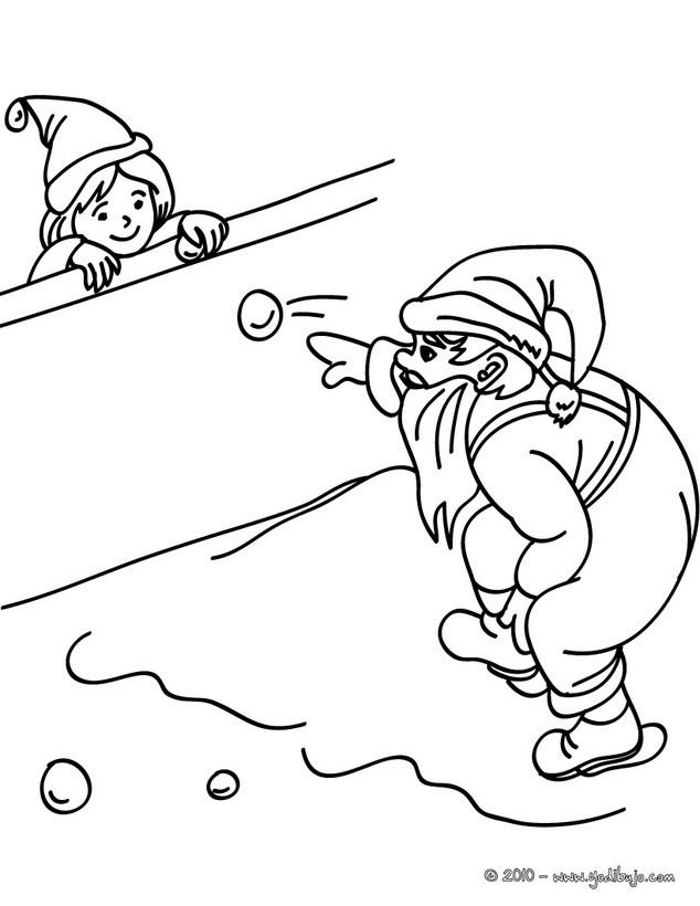Dibujo para colorear : Papa Noel jugandocon niños