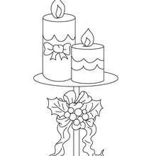 Dibujo para colorear vela con candelabro de navidad - Dibujos para Colorear y Pintar - Dibujos para colorear FIESTAS - Dibujos para colorear de NAVIDAD - VELAS DE NAVIDAD para colorear
