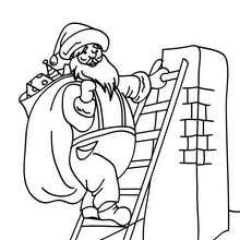 Dibujo para colorear de Papa Noel en una escala - Dibujos para Colorear y Pintar - Dibujos para colorear FIESTAS - Dibujos para colorear de NAVIDAD - Dibujos para colorear de PAPA NOEL - Dibujos para colorear PAPA NOEL online