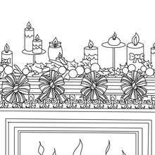 Dibujo para colorear : vela con chimenea navideña