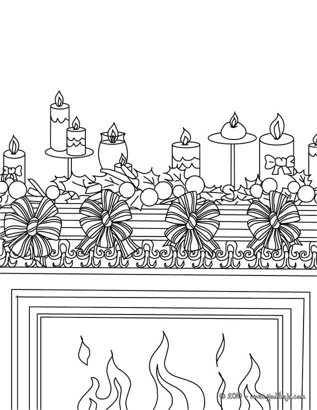 Dibujos para colorear vela con chimenea navide a es - Dibujos de chimeneas de navidad ...