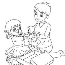 dibujo de navidad para colorear chica con su regalo navideño - Dibujos para Colorear y Pintar - Dibujos para colorear FIESTAS - Dibujos para colorear de NAVIDAD - Dibujos de Navidad para colorear e imprimir