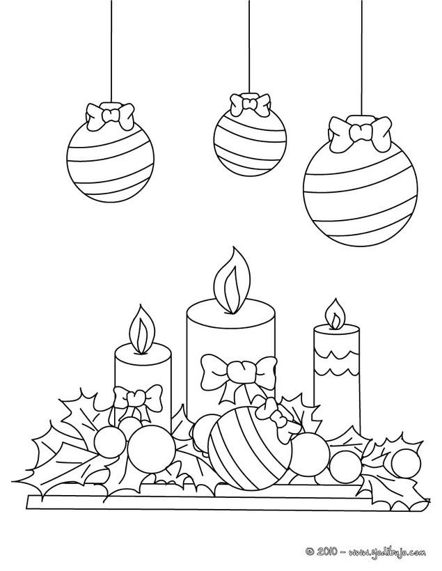 Dibujos para colorear velas y bolas de navidad - es.hellokids.com