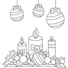 Dibujo para colorear velas y bolas de navidad