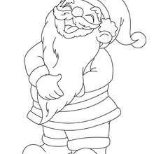 Dibujo para colorear : Papa Noel con sur larga barbilla
