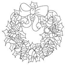 Dibujo para colorear : corona de navidad con hoajs