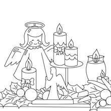 Dibujo para colorear : velas y angle navideño