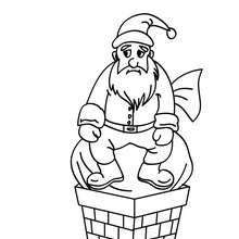 Dibujo para colorear : Papa Noel bloqueado en la chimenea
