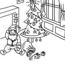 Dibujo para colorear : Papa Noel bajando por la chimenea