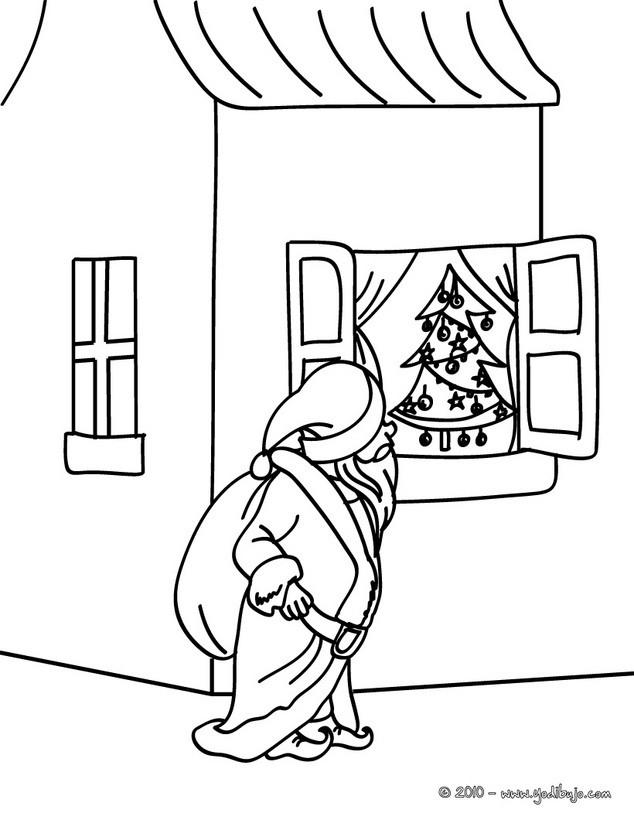 Dibujos para colorear papa noel observando el arbol de - Papa noel coloriage ...