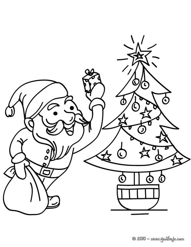 Dibujo para colorear : Santa Claus con arbol de navidad