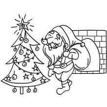 Dibujo de Santa Claus bajndo por la chimenea - Dibujos para Colorear y Pintar - Dibujos para colorear FIESTAS - Dibujos para colorear de NAVIDAD - Dibujos para colorear SANTA CLAUS - SANTA CLAUS pintar