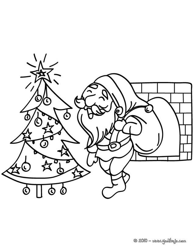Dibujos para colorear santa claus bajndo por la chimenea - Papa noel coloriage ...