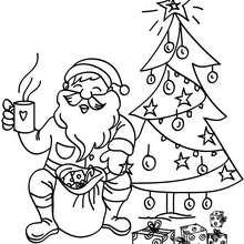 Dibujo para colorear : Santa Claus tomando su leche caliente