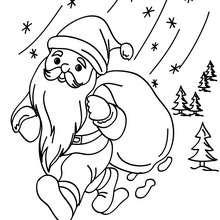 Dibujo de Santa Claus bajo la nieve para colorear - Dibujos para Colorear y Pintar - Dibujos para colorear FIESTAS - Dibujos para colorear de NAVIDAD - Dibujos para colorear SANTA CLAUS - SANTA CLAUS pintar