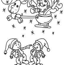 Dibujo para colorear : Santa Claus con su trineo navideño