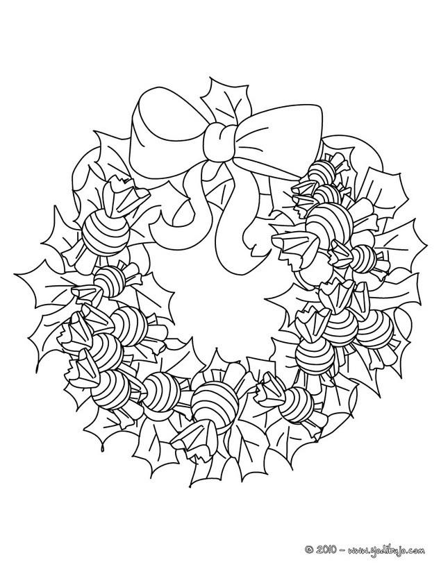 Dibujo para colorear : corona de navidad con chuches para navidad