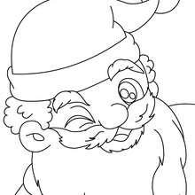 Dibujo para colorear : retrato de Papa Noel haciendo un guiño