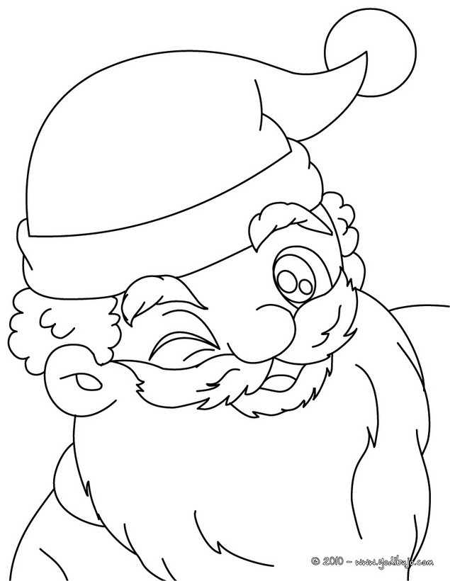 Dibujos para colorear retrato de papa noel haciendo un guiño - es ...