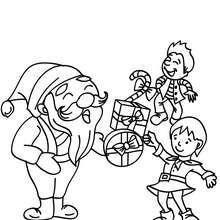 Dibujo para colorear de Santa Claus regalando regalos - Dibujos para Colorear y Pintar - Dibujos para colorear FIESTAS - Dibujos para colorear de NAVIDAD - Dibujos para colorear SANTA CLAUS - SANTA CLAUS niños para colorear