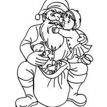 Dibujo para colorear Santa Claus con un niño - Dibujos para Colorear y Pintar - Dibujos para colorear FIESTAS - Dibujos para colorear de NAVIDAD - Dibujos para colorear SANTA CLAUS - SANTA CLAUS niños para colorear