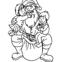 Dibujo de Santa Claus con niños - Dibujos para Colorear y Pintar - Dibujos para colorear FIESTAS - Dibujos para colorear de NAVIDAD - Dibujos para colorear SANTA CLAUS - SANTA CLAUS niños para colorear