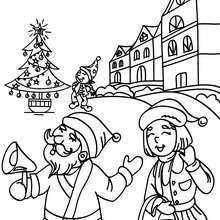 Santa Claus en su pueblo para colorear - Dibujos para Colorear y Pintar - Dibujos para colorear FIESTAS - Dibujos para colorear de NAVIDAD - Dibujos para colorear SANTA CLAUS - SANTA CLAUS niños para colorear