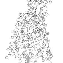 Dibujo para colorear : Santa Claus preparando el arbol de Navidad