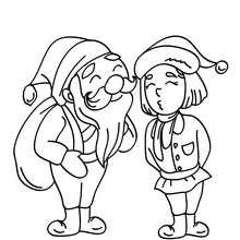 Dibujo para colorear : Santa Claus listo
