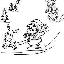 Dibujo para colorear de Santa Claus despegando con su trineo - Dibujos para Colorear y Pintar - Dibujos para colorear FIESTAS - Dibujos para colorear de NAVIDAD - TRINEO NAVIDAD para colorear