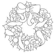 Dibujo para colorear : corona decorativa para navidad