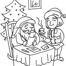 Dibujo para colorear : Santa Claus leyendo una carta de Navidad