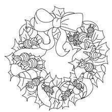 Dibujo para colorear hermosa corona navideña - Dibujos para Colorear y Pintar - Dibujos para colorear FIESTAS - Dibujos para colorear de NAVIDAD - ADORNOS NAVIDEÑOS para colorear