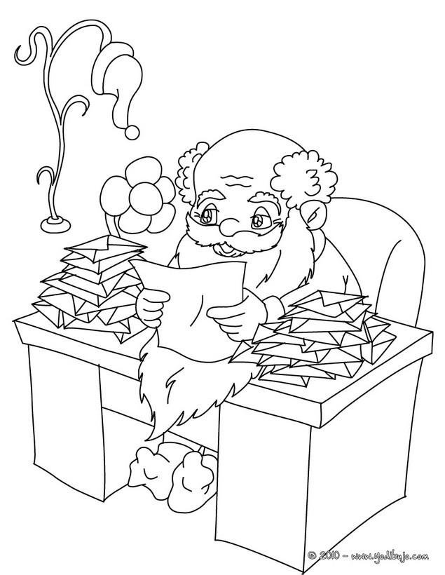 Dibujo para colorear : Papa Noel leyendo sus cartas de Navidad