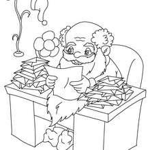 Dibujo de Papa Noel leyendo sus cartas de Navidad - Dibujos para Colorear y Pintar - Dibujos para colorear FIESTAS - Dibujos para colorear de NAVIDAD - Dibujos para colorear de PAPA NOEL - PAPA NOEL para colorear