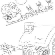 Dibujo para colorear el trino de renos para navidad - Dibujos para Colorear y Pintar - Dibujos para colorear FIESTAS - Dibujos para colorear de NAVIDAD - TRINEO NAVIDAD para colorear