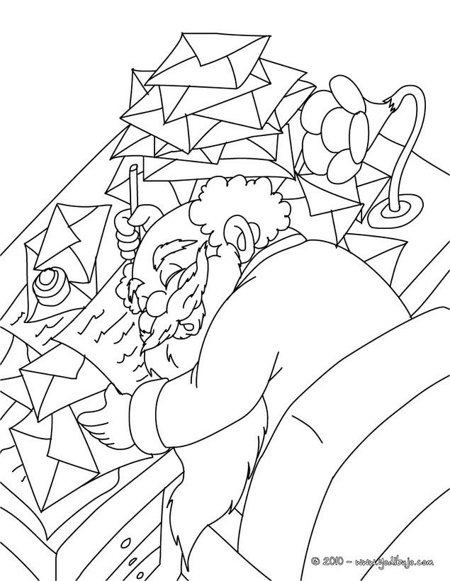 Dibujos para colorear papa noel cansadisimo con sus cartas - Papa noel coloriage ...