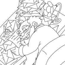 Dibujo de Papa Noel cansadisimo con sus cartas de navidad - Dibujos para Colorear y Pintar - Dibujos para colorear FIESTAS - Dibujos para colorear de NAVIDAD - Dibujos para colorear de PAPA NOEL - PAPA NOEL para colorear
