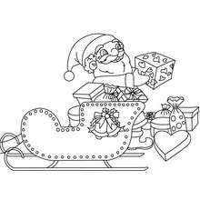 Dibujo para colorear : Papa Noel cargando su trineo
