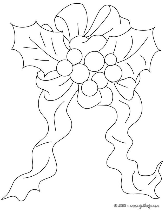 Dibujos para colorear acebo de navida con seda - es.hellokids.com