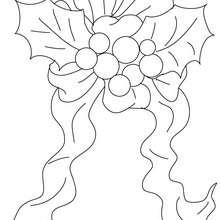 Dibujo para colorear acebo de navida con seda - Dibujos para Colorear y Pintar - Dibujos para colorear FIESTAS - Dibujos para colorear de NAVIDAD - ADORNOS NAVIDEÑOS para colorear