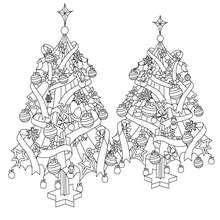 Dibujo para colorear árboles navideños decorados - Dibujos para Colorear y Pintar - Dibujos para colorear FIESTAS - Dibujos para colorear de NAVIDAD - Dibujos para colorear ARBOL DE NAVIDAD